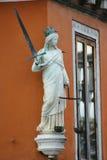 απομονωμένο λευκό αγαλμάτων σκιαγραφιών δικαιοσύνης Στοκ φωτογραφίες με δικαίωμα ελεύθερης χρήσης