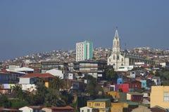 五颜六色的市瓦尔帕莱索,智利 免版税库存照片