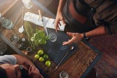 侍酒者谈论关于新的鸡尾酒食谱 库存照片
