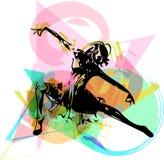 Абстрактная иллюстрация танцевать женщин Стоковое Изображение RF