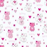 Άνευ ραφής πρότυπο με τις χαριτωμένες γάτες Στοκ Εικόνες