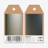 在双方的标记,纸板与条形码的销售标签 多角形设计,几何六角背景 库存图片