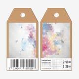 在双方的标记,纸板与条形码的销售标签 多角形设计,五颜六色的几何三角背景 免版税库存照片