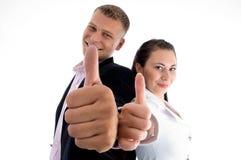 деловые партнеры показывая большие пальцы руки вверх Стоковое фото RF
