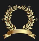 Χρυσή κορδέλλα βραβείων στεφανιών δαφνών Στοκ Εικόνες