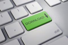 有绿色按钮的-下载键盘 免版税库存图片