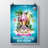 Дизайн рогульки партии пляжа лета вектора с мороженым и элементы музыки на океане благоустраивают предпосылку Типографская констр Стоковые Фото