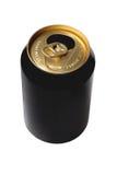 Пустая черная банка пива Стоковые Изображения