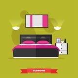 在平的样式的卧室内部 导航与家具,床,桌,绘画,灯的例证 设计元素和 免版税库存照片
