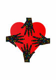 手和心脏商标、爱和支持 免版税图库摄影