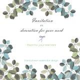 背景,与水彩灰色和深蓝叶子和分支的花饰的模板明信片 免版税库存照片