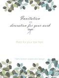 背景,与水彩灰色和深蓝叶子和分支的花饰的模板明信片 库存照片