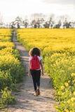 混合的族种非裔美国人女孩少年远足 免版税库存图片