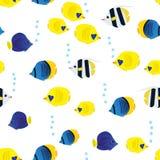 与动画片珊瑚礁生动的鱼的五颜六色的无缝的样式在白色背景 水下的生活墙纸 库存照片