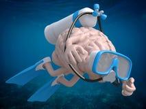 与潜水风镜和鸭脚板的人脑 库存图片