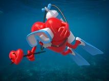 与潜水风镜、鸭脚板和三叉戟的心脏 免版税库存图片