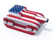 玩具坦克上色与美国旗子 库存图片