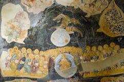 Средневековая византийская фреска последнего суждения Стоковые Фотографии RF