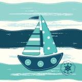 Υπόβαθρο με το αφηρημένο πλέοντας σκάφος Στοκ εικόνες με δικαίωμα ελεύθερης χρήσης