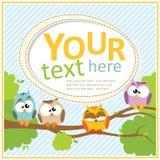 与动画片猫头鹰的卡片 免版税库存图片