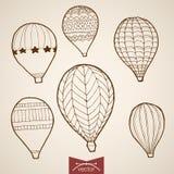 Εκλεκτής ποιότητας συρμένο χέρι διανυσματικό πετώντας μπαλόνι χάραξης Στοκ εικόνα με δικαίωμα ελεύθερης χρήσης