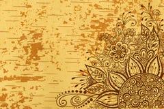 在木纹理的花卉样式 库存图片