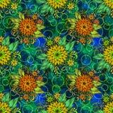 无缝的瓦片花卉样式 免版税库存照片