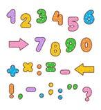 被设置的短上衣小点五颜六色的数字和标志 库存图片