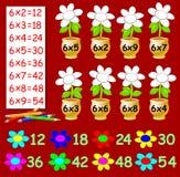 Άσκηση για τα παιδιά με τον πολλαπλασιασμό από έξι - πρέπει να χρωματίσετε τα λουλούδια στο σχετικό χρώμα Στοκ φωτογραφία με δικαίωμα ελεύθερης χρήσης