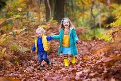 使用在秋天公园的孩子 免版税库存图片