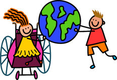 Με ειδικές ανάγκες παγκόσμια παιδιά Στοκ Εικόνες
