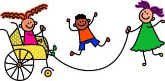 Με ειδικές ανάγκες πηδώντας παιδιά Στοκ εικόνες με δικαίωμα ελεύθερης χρήσης