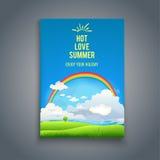 与天空和彩虹的自然模板 免版税图库摄影