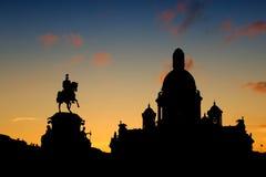 剪影纪念碑尼古拉一世圣彼德堡俄罗斯 图库摄影