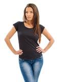 有空白的黑衬衣的华美的妇女 免版税库存图片
