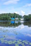 美丽的湖在森林里 库存照片