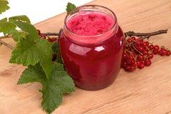 红浆果果酱分支在瓶子的 库存图片