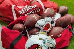 美国橄榄球联盟亚利桑那红雀橄榄球设备袋子 库存照片