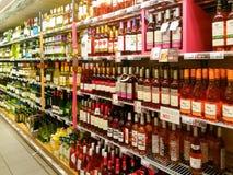 Вино в супермаркете Стоковые Фотографии RF