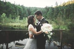 爱和激情-结婚的年轻婚礼夫妇亲吻临近湖 免版税库存照片