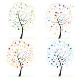 四无缝的季节纹理向量 做心脏树 春天,秋天,秋天,夏天树传染媒介例证 库存图片