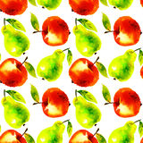 水彩苹果和梨果子例证 免版税图库摄影