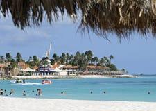 在加勒比海的阿鲁巴假期 库存照片