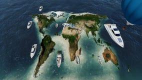 Νησί υπό μορφή παγκόσμιου χάρτη και πετώντας ελικοπτέρου απόθεμα βίντεο