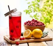 与莓和柠檬鸡尾酒的冰冷的饮料玻璃 免版税库存照片