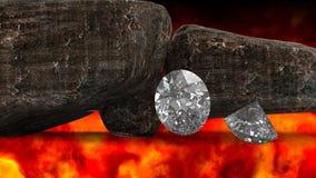 Λαμπρά διαμάντια και δύσκολη τρισδιάστατη απεικόνιση λίθων Στοκ Εικόνες