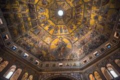 圣乔瓦尼,佛罗伦萨洗礼池的马赛克天花板  库存图片