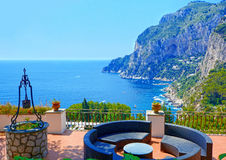 Роскошная терраса, остров Капри, Италия Стоковое фото RF