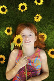 солнцецветы девушки маленькие Стоковые Изображения RF