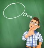 τρισδιάστατος νέος σπουδαστής που σκέφτεται με μια κενή ομιλία φυσαλίδων σε μια κιμωλία Στοκ Εικόνα